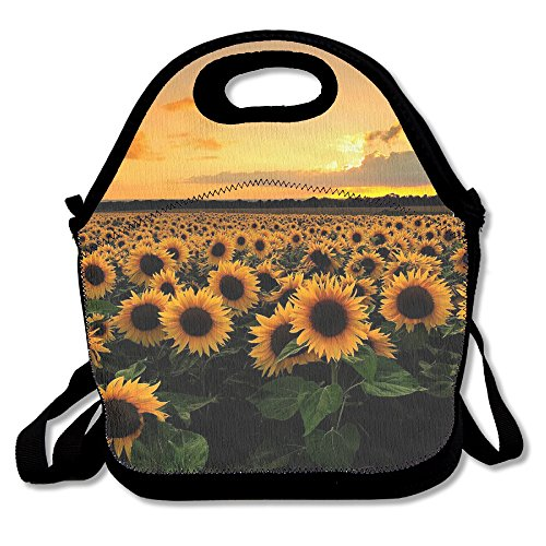 Neoprene Lunch Tote - Sunflower Waterproof Reusable Lunch Bags Boxes For Men Women Adults Kids Toddler Nurses With Adjustable Shoulder Strap