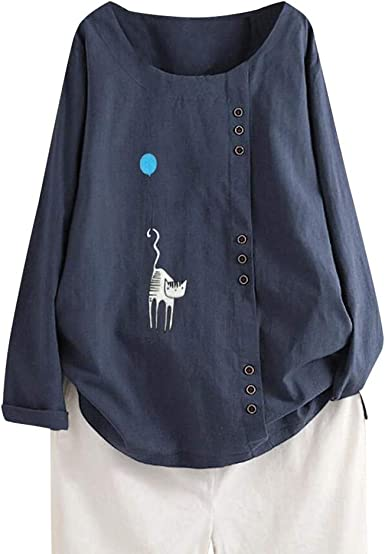 Otoño Impresión Transpirable Algodón Y Lino Mujer Manga Larga Camisetas Cuello Redondo Dama Camisa Blusa T-Shirt Sudaderas Combinación Denim Pantalones Cortos Sección MEIbax: Amazon.es: Ropa y accesorios