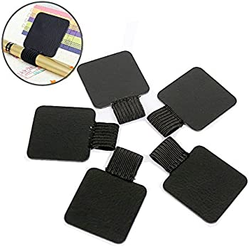 BronaGrand 5pcs Self-adhesive Leather Pen Holder with Elastic Loop for Notebooks, Journals,Calendars and Planners (Black)