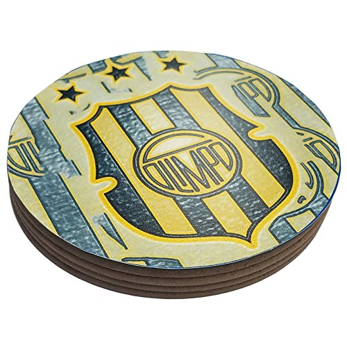 fan products of Four Round Coasters Glossy Custom Plastic Effect Argentina Futbol Soccer Olimpo Bahia Blanca