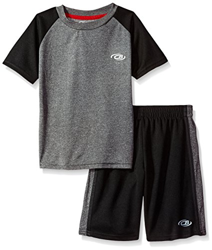 CB Sports Toddler Boys' 2 Piece Performance T-Shirt and Short Set, Sj_Black, 2T