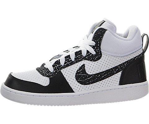 NIKE Kids Court Borough Mid Premium (GS) (White/Black, 5.5 M US Big Kid)  (Boys Nike High Top Shoes)