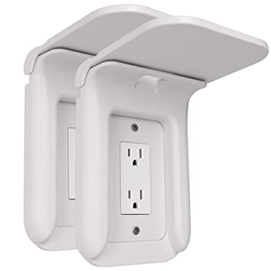 Wall Outlet Shelf Power Perch Charging Station, Bathroom Wall Outlet Mount Holder Shelf Socket Bracket Charger Stand for iPhone Cellphone, Over Outlet Shelf Organizer(2 Pack,White)