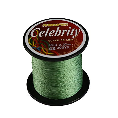 ANGRYFISH 4X 274M/300Y 100% UHMWPE Braided High Performance Braided Fishing Line(Green,15LB/0.12MM) For Sale