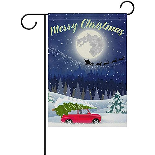 Starochi Merry Christmas Landscape Retro Car House Flag Part
