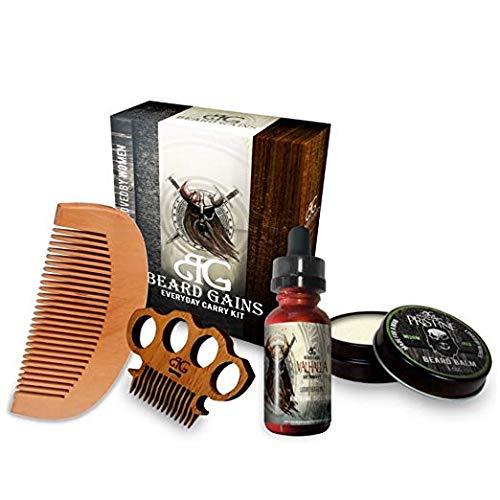 Beard Gains Valhalla Every Day Carry Beard Care Kit - Beard Oil, Beard Balm Conditioner, Mustache Comb, Wooden Beard Comb