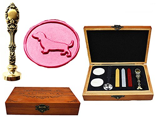 Notary Wood - MNYR Dachshund Dog Luxury Wood Box Bronze Metal Peacock Wedding Invitations Gift Cards Paper Stationary Envelope Seals Custom Logo Wax Seal Sealing Stamp Wax Sticks Melting Spoon Wood Gift Box Kit
