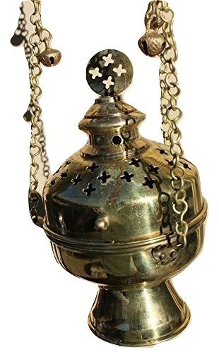 Hanging Brass Censer with Chain Resin Burner Charcoal Greek Catholic Orthodox Church & Free Gift by monthlysupply