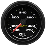 AutoMeter 9240 Extreme Environment Oil Temp Gauge 2-1/16 in. 100-340 Deg. F Black Dial Face Fluorescent Red Pointer Black Bezel White LED Lighting w/Peak And Warn Extreme Environment Oil Temp Gauge