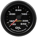 AutoMeter 9240 Extreme Environment Oil Temp Gauge 2-1/16 in. 100-340 Deg. F Black Dial Face Fluorescent Red Pointer Black Bezel White LED Lighting w/Peak And Warn Extreme Environment Oil Temp Gauge