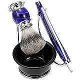 Anself 4 In 1 Facial Shaving Set Shaving Holder + Straight Razor + Soap Bowl + Blaireau Brush