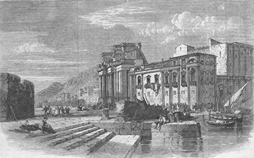 ITALY. The Porta Felice and Marina, Palermo, Sicily - 1860 - old antique vintage print - engraving art picture prints of Italy Castles - Illustrated London News ()