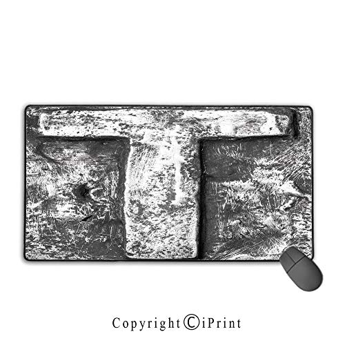 (Extended Mousepad with Durable Stitched Edges,Letter T,Vintage Gothic Medieval Capital T Surname Industrial Stylized Alphabetic Image Decorative,Black Grey,Premium textured fabric, non-slip rubber bas)