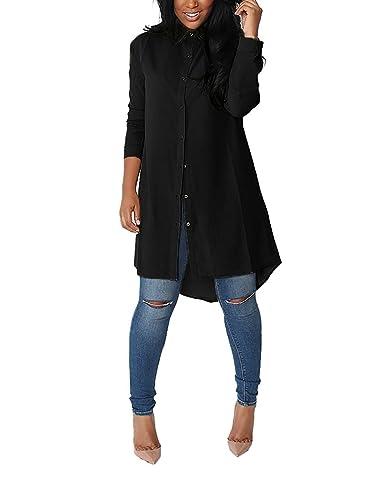 Minetom Mujer Verano Camisa Blusa De Color Sólido Floja Manga Larga T-shirt Dobladillo Irregular Tops Cóctel Casual
