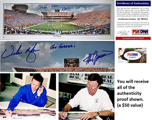 Steve Spurrier and Urban Meyer Signed - Autographed Florida Gators UF 39 x 13.50 inch Panoramic Print of The Swamp - Certificate of Authenticity (COA) and Proof Photos - PSA/DNA (Steve Spurrier Autographed Gators)