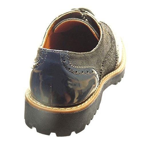 Angkorly - Chaussure Mode Richelieu Derbies femme verni perforée Talon bloc 3 CM - Bleu