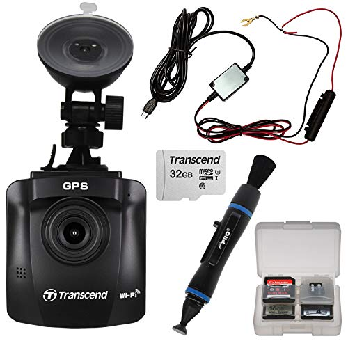 Transcend DrivePro 230 1080p Full HD Car Dashboard Video Recorder with Suction Cup + 32GB Card + Lens Pen + Hardwire Cable Kit