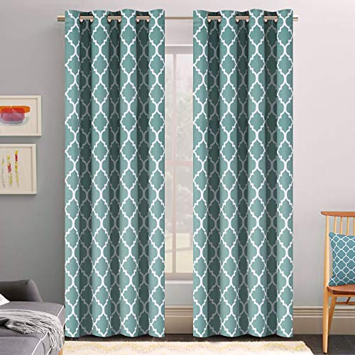 Flamingo P Microfiber Noise Reducing Thermal Insulated Moroccan Blackout Drapes Printed Window Curtains for Living Room, Grayish Blue Grommet Top, Set of Two Panels, 52 x 96 Inch