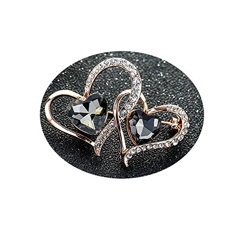 WLL Elegant Ruby Red Gray Rhinestone Shining Crystal Love Heart Brooch Pin (Grey)