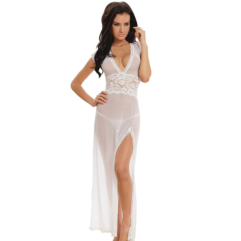Timall Women Deep V-neck Long Lingerie Underwear G-string Babydoll Nightwear