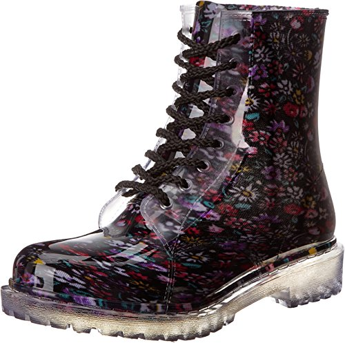 Dirty Laundry Women's Roadie Flower Rain Boot,Black,8 M US