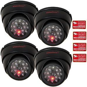 VideoSecu 4 Pack Dome Dummy Fake Infrared IR CCTV Surveillance Security Camera