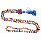 Necklace Rudraksha Lapis Lazuli 108 Mala Yoga Energy Mental Clarity Beads