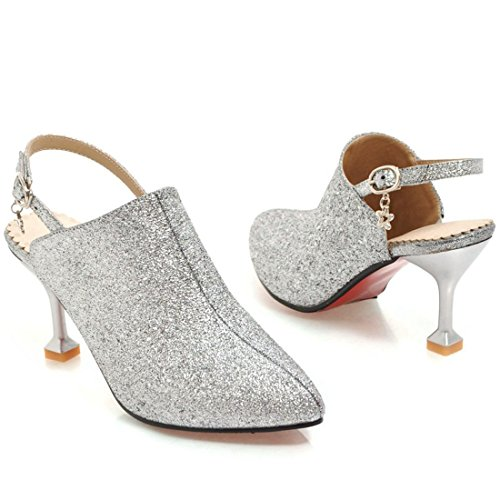 YE Women's Mid Heel Pointed Toe Slingback Court Shoes Ladies Back Strap Party Pom Ankle Shoes Cream G2dm74