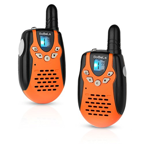Bobela M602 Mini Two Way Radio Transcevier 22 Channel FRS/GMRS Twin Handheld Walkie Talkies Cheap Kids Toys For 2 Years Old Boys and Girls to Go Camping, Traveling and Cruise ship(Orange, 1 pair)