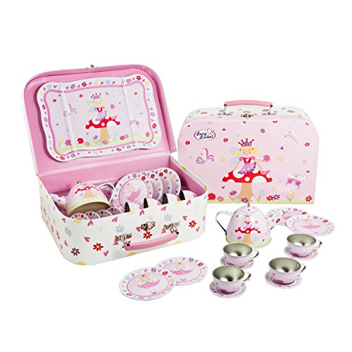 Lucy Locket Fairy Tale Tin Tea Set & Carry Case Toy (14 Piece Kids Tea Set) Pink -