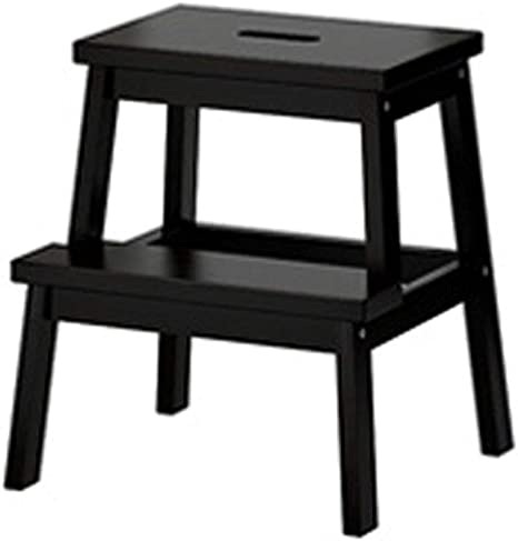 WANNA.ME Taburete de Madera Taburete Escalera de Dos escalones Taburete Plegable para pies Cocina Simple, Alto 50 cm, escaleras de 3 Colores (Color: Negro): Amazon.es: Hogar