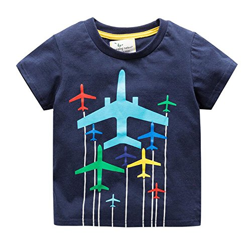 (ZETIY Toddler Little Boys Chromatic Airplane Tees Shirts Tops (4T, Blue))