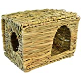 cnomg Natural Seagrass Cage Mat Bed Toy, Hand Woven for Rabbit Guinea pig Chinchilla Ferret Foldable Cage