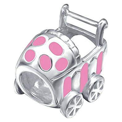 So Chic Joyas© Charm cochecito bebé niña rosa plata 925 - Compatible con Pandora, Biagi, Chamilia, Biagi: Amazon.es: Joyería