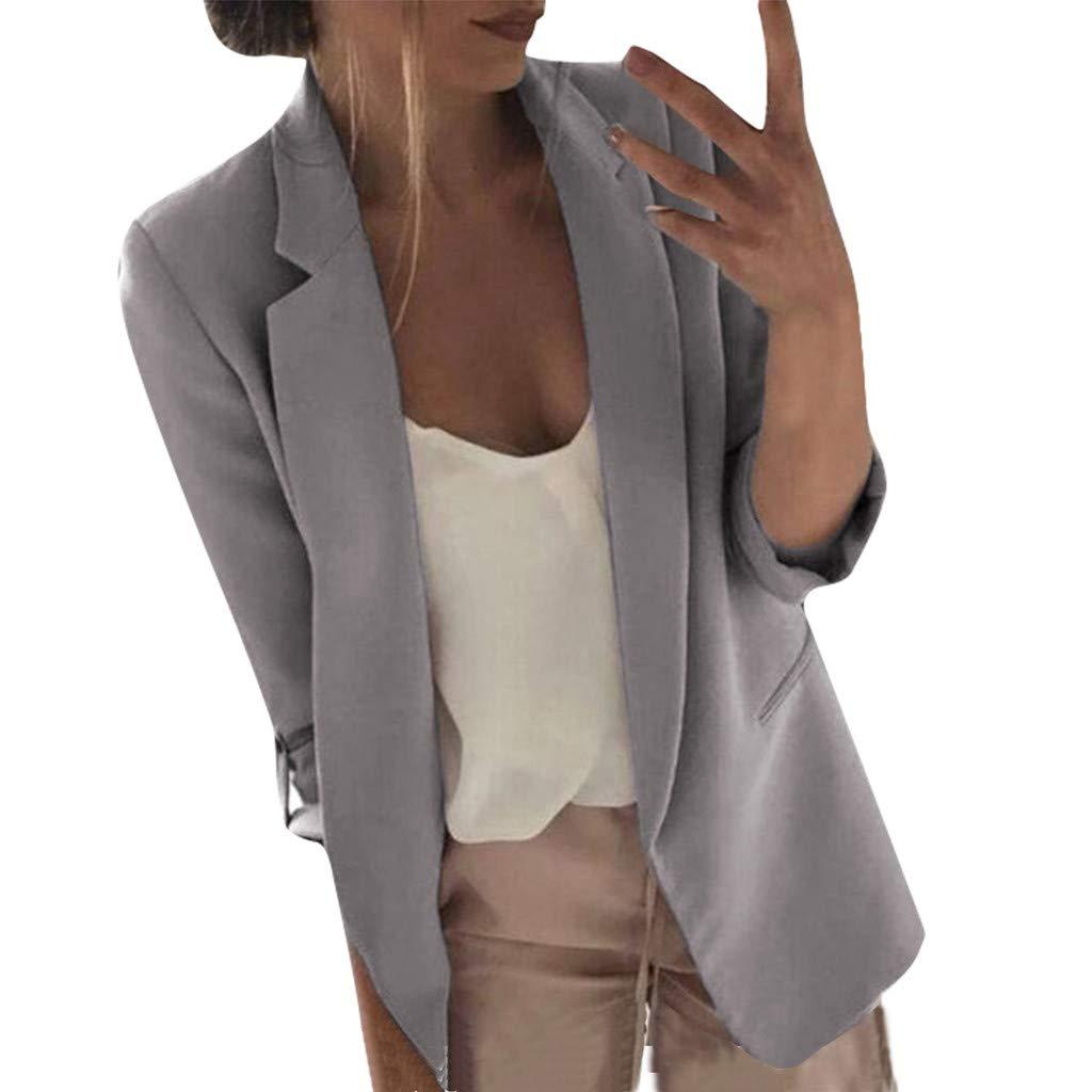 Fshinging Women Long Sleeve Blazer Open Front Short Cardigan Suit Jacket Work Office Coat{Grey,XL} by Fshinging