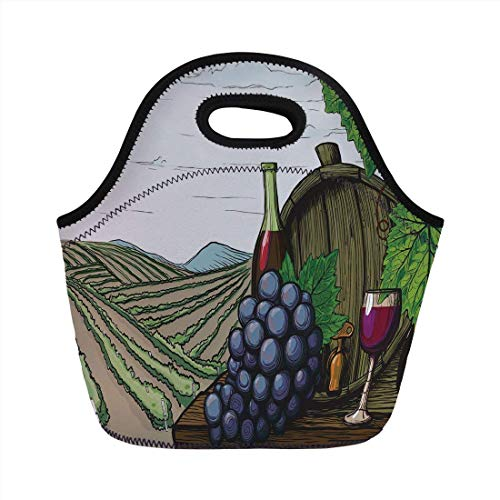 Portable Bento Lunch Bag,Wine,Landscape with Views of Vineyards Grapes Leaves Drink Barrel Agriculture Field Farm Decorative,Multicolor,for Kids Adult Thermal Insulated Tote Bags