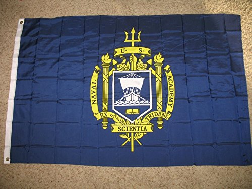 Navy Naval Brass - 3X5 Us Naval Academy Flag 3'X5' Banner Brass Grommets (Licensed By Navy)