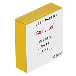 StonyLab Qualitative Filter Paper Circles, 94mm Diameter Cellulose Filter Paper with 20 Micron Particle Retention Medium Filtration Speed, Pack of 100