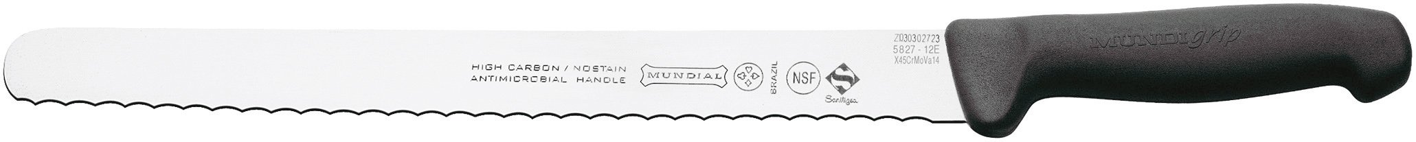 Mundial 5827-12E 12-Inch Serrated Edge Slicing Knife, Black