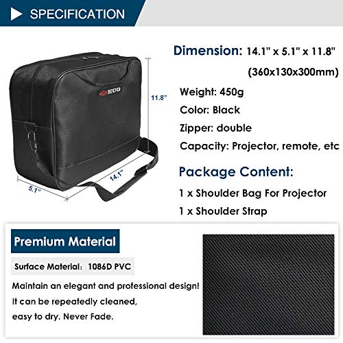 Universal Projector Carrying Case Soft Laptop Travel Shoulder Bag with Detachable Shoulder Strap - 14x12x5 inch - for Optoma HD142X, ViewSonic PJD7828HDL, Epson EX3240 and More Small Travel Projectors by WIKISH (Image #2)
