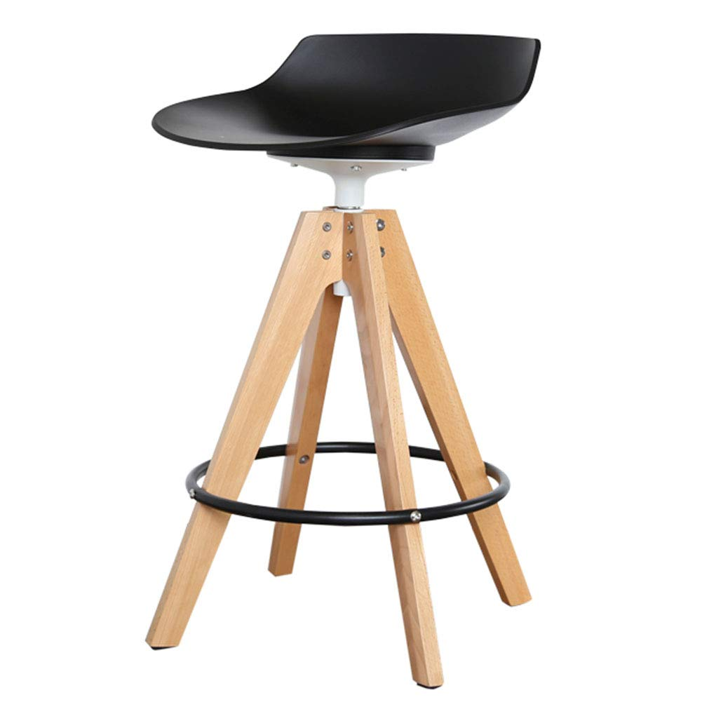 CAIJUN カウンターチェア 木製フレーム プラスチックシート 360°回転 人間工学に基づいた設計 防水 アセンブリ、 3色、 2サイズ Dual-use (色 : 黒, サイズ さいず : 39x39x77cm) B07LG5XLBB 黒 39x39x77cm