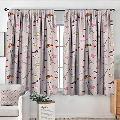Mozenou Paris Waterproof Window Curtain French Flag Coffee Croissant Fashion Shoes Wine Hearts Perfume Popular Icons Clouds Design Customized Curtains 72