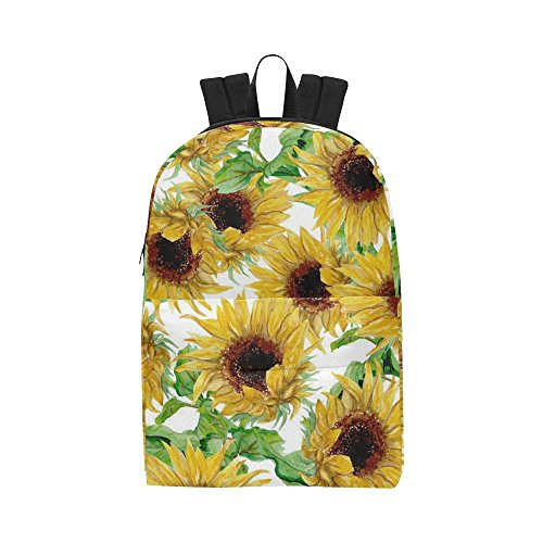 InterestPrint Yellow Sunflower Custom Backpack School Book Bag Casual Travel Daypack