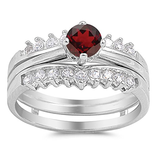 Genuine Round Ruby Solitaire Ring - 925 Sterling Silver Faceted Natural Genuine Red Ruby Round Solitaire Set Ring Size 4