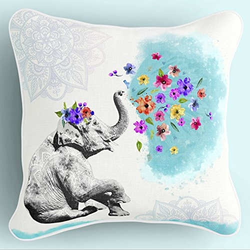 Lume.ly - Cute Mandala Bohemian Baby Elephant Decorative Throw Pillow Cover Case for Couch Bed Bedroom, Unique Elegant Designer Vibrant Art Home Decor (Aqua Blue & White) (20x20 inches)
