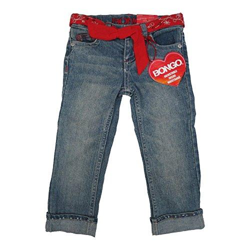 Bongo Little Girls Blue Denim Red Adjustable Belt Double Cuff Pants 4T