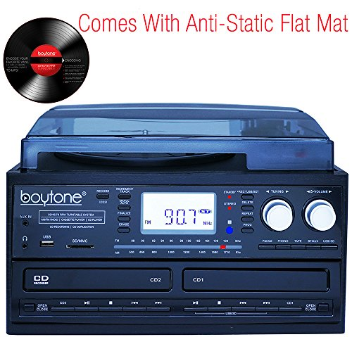 Boytone BT-29B, Bluetooth Dual CD Player and Recorder CD2 to CD1, AM/FM Radio Turntable Record Player 2 Built-in Stereo Speakers, Cassette Player, SD Slot, USB, AUX, Headphone Jack, Limited Edition by Boytone (Image #1)