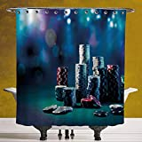 SCOCICI Unique Shower Curtain 3.0 [ Poker Tournament Decorations,Gaming Table with Poker Chips Dramatic Display Vegas Leisure Decorative,Multicolor ] Machine Washable,Shower Hooks are Included