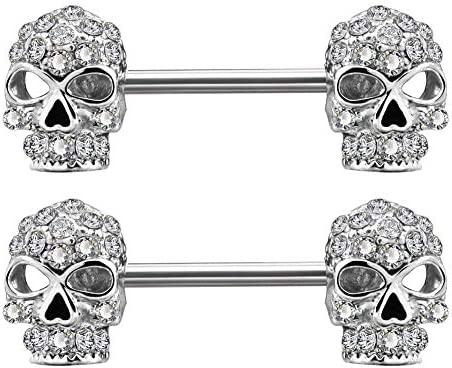 """14 G ~ 5//8/"""" 316 L Acier Chirurgical Skull Tongue Ring Barbell avec pierreries yeux 1pc"""