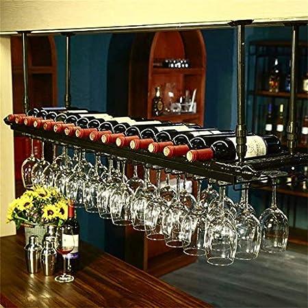 LJWJ Estante de Vino, Bar, Restaurante, Colgando, Estante de Copa de Vino, Techo Retro S Titular de Botella de Vino Titulares de Vino Racks de Vino Ajustable Altura Rack Stemwet,Negro,80 × 30 cm